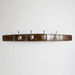 Large Square Nickel Coat Rack with Bands