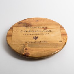 "Lazy Susan, 16"", CAKEBREAD, Image of Grapes, Golden Oak, California"