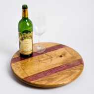 Plumpjack Crate Lazy Susan with Wine Barrel Inlay