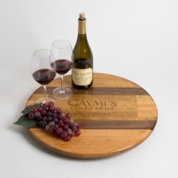 "Lazy Susan, 20"", CAYMUS, Walnut Inlay, Golden Oak, California"