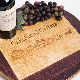 "Lazy Susan, 16"", CAKEBREAD CELLARS LANDSCAPE, Golden Oak, Wine Barrel Surround, California"