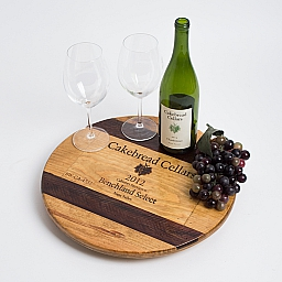 "Lazy Susan, 16"", CAKEBREAD, Image of Grapes, Wine Barrel Inlay, Golden Oak, California"