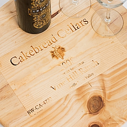 "Lazy Susan, 16"", CAKEBREAD, Image of Grapes, Finished Pine, California"