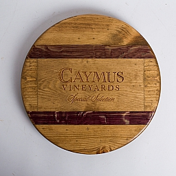 "Lazy Susan, 16"", CAYMUS, Golden Oak, Wine Barrel Inlay, California"