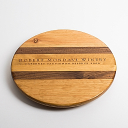 "Lazy Susan, 16"", ROBERT MONDAVI WINERY, Golden Oak, Walnut Inlay, Napa"