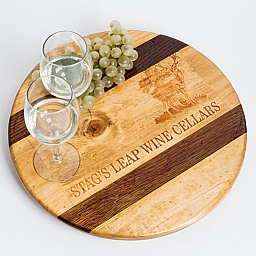 "Lazy Susan, 16"", STAGS LEAP, Golden, Offset Image, Walnut Inlay, Napa"