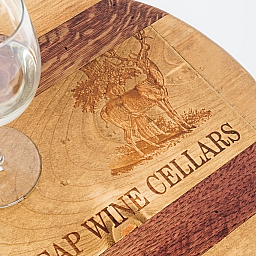 "Lazy Susan, 16"", STAGS LEAP, Golden, Offset Image, Wine Barrel Inlay, Napa"