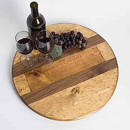 "Lazy Susan, 20"", CHATEAU STE. MICHELLE, Walnut Inlay, Golden Oak, California"