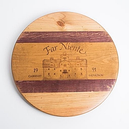 "Lazy Susan, 20"", FAR NIENTE ESTATE, Golden Oak, Wine Barrel Inlay, Napa"