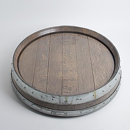 "Banded Lazy Susan, 24"", COOPERAGE, Weatherd Gray"