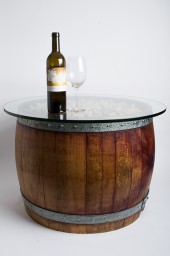 natural wine barrel coffee table with cork and glass top : alpine
