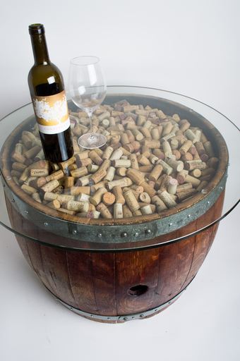 Natural Wine Barrel Coffee Table With Cork And Glass Top