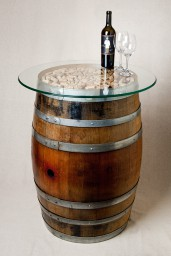Natural Wine Barrel Entry Table with Cork and Glass Top