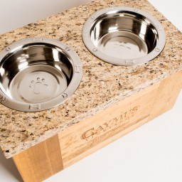 Pet Feeder, CAYMUS, Grey and Peach Granite Top, Golden Oak, Large