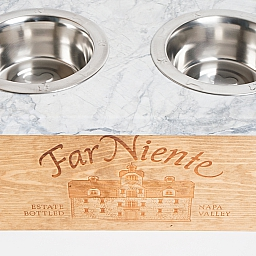 Pet Feeder, FAR NIENTE, Glacier White Granite Top, Golden Oak, Medium