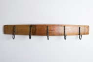 Barrel Stave Coat Rack with Forged Hooks