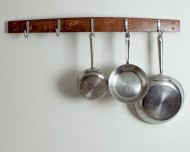 Wine Stave Pot rack -Red Mahogany Stain