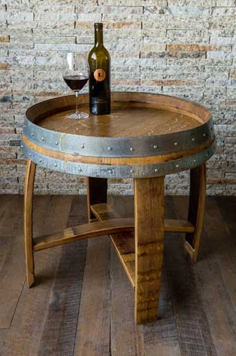 Side Table -Banded Barrel Top with Cross Braces, Natural