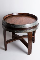 Side Table -Banded Barrel Top with Cross Braces, Red Mahogany