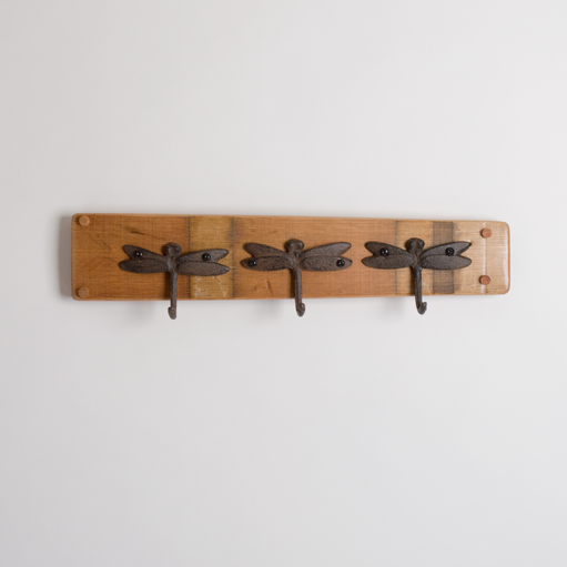 Small Dragonfly Coat Rack, 3 Hooks, Natural