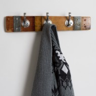 Small Banded Coat Rack with Round Nickel Hooks