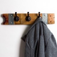 Small Banded Coat Rack with Round Oil Rubbed Bronze Hooks