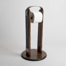 Stand-Alone Toilet Roll Holder, Band Accents, Dark Walnut Finish