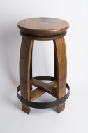 Wine Barrel Head Stool with Copper Band
