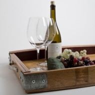 Wine Barrel Serving Tray with Metal Band Accents