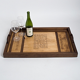 Coffee Table Tray, HUNDRED ACRE, Walnut Inlay, Golden Oak, Walnut Sides, Twisted Handles