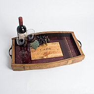 Cade Crate Tray with Wine Barrel Surround