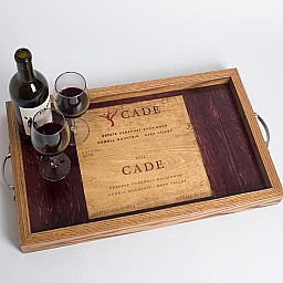 Tray, CADE, Wine Barrel Surround, Oak Sides, Golden Oak, Nickel Handles