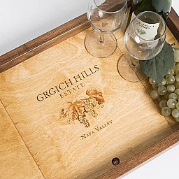 Tray, GRGICH HILLS, Golden Oak, Grape Image, Walnut Sides