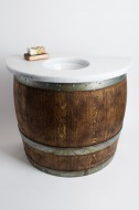 Wall Mount Wine Barrel Vanity with Granite Top