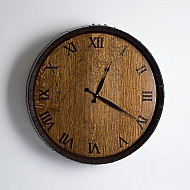 Barrel Head Clock, Dark Walnut Finish