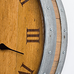 Barrel Head Wall Clock, Twelve Engraved Roman Numerals, Natural Finish