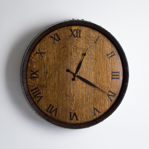 Barrel Head Wall Clock, Twelve Engraved Roman Numerals, Provincial Finish