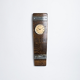 Wine Barrel Clock with Bands, All Gold Face