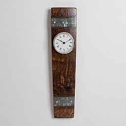 Wine Barrel Clock with Bands, White Face with Gold Bevel
