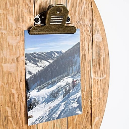 Wine Barrel Cooperage Top Photo Display, 4 Clips, Natural