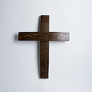 Dark Walnut Wine Barrel Cross
