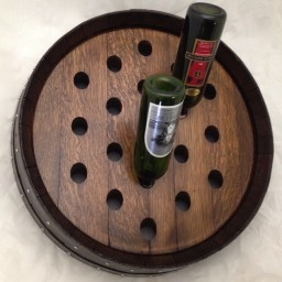 Wall wine rack, Circular with Bands, Dark Walnut