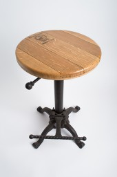 Wine Barrel Adjustable Stool, Wrought Iron Base, Natural Top