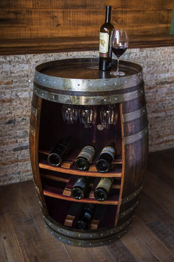Wine Barrel Cabinet, Dark Walnut Finish, Wine Glass Rack