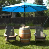 Wine Barrel Table with Umbrella, Shipping included