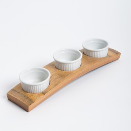 Wine Barrel Serving Set with Traditional Ramekins, Bread Dipper Set