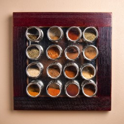 Wine Barrel Spice Rack- 16 Cans
