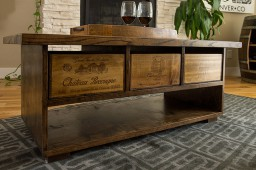 Wine Stave Coffee Table with Drawers and Shelf, Dark Walnut Finish