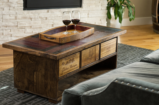 Wine Stave Coffee Table with Drawers, Dark Walnut Finish