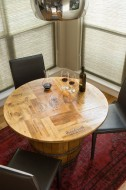 Wine Crate Game Table with Barrel Base